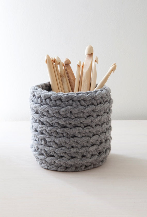 RESERVED - Grey crocheted tin can cover/ cozy