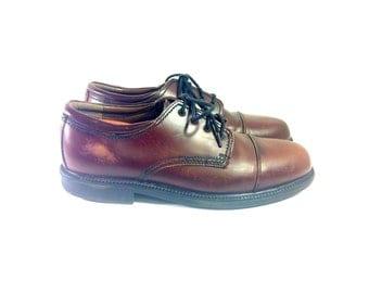 Men's Brown Leather Oxfords 12 - Cap Toe Dress Shoes 12 - Lace Up Brogue 12