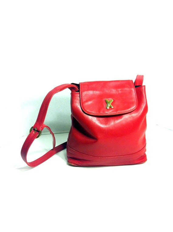 Red Leather Crossbody Satchel - Piloma Picasso Slouchy Saddle Bag