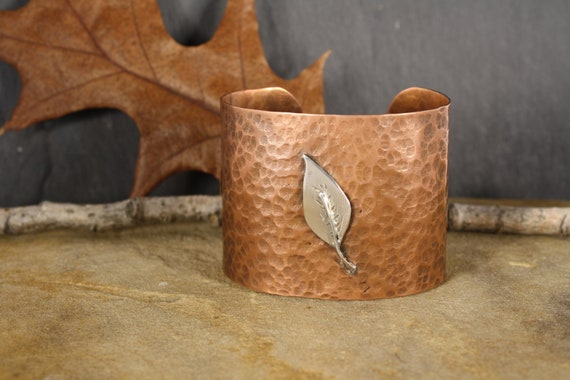 Copper Cuff - Adorned with Sterling Silver Leaf - Autumn / Fall Accessory - Metalworked Copper Cuff