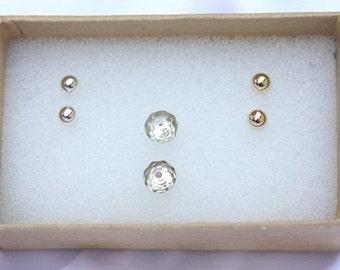 Tiny Gold Stud Earring Set - minimalist stud earrings, tiny earrings, tiny gold earring stud