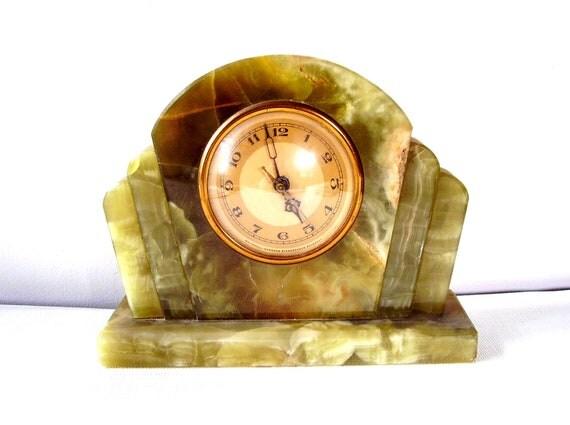 Deco Era Jade Onyx Green Marble Mantle Clock By Whitehall