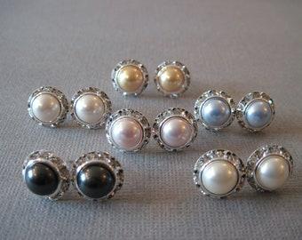 SET OF 6 PAIR- Swarovski Crystal Pearl Earrings/Pink Pearl Studs/Bridesmaid Jewelry/White Pearl Earrings/Bridal Party/Cream Pearl Earrings/