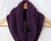 PLUM PURPLE COWL scarf hand crocheted neckwarmer crochet cowl soft cozy acrylic neck warmer circle scarf eternity scarf women accessories
