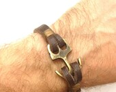 Brown Soft Leather Women Leather Bracelet with Anchor Clasp Men Leather Cuff Bracelet Unisex Bracelet