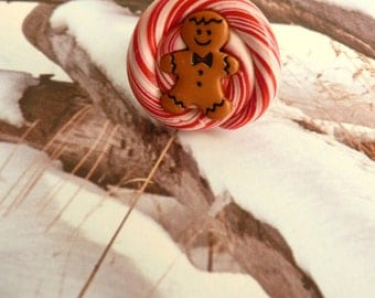 NOW 50% OFF!! Gingerbread Man Candy Cane Swirl Lollipop Polymer Clay Fake Candy Ring Christmas Jewelry