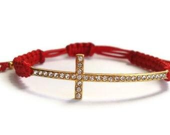 Gold Cross Red Macrame Bracelet