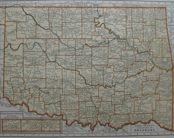 1938 Antique OKLAHOMA MAP of Oklahoma 1930s State Map Beautiful Color Plaindealing 6334