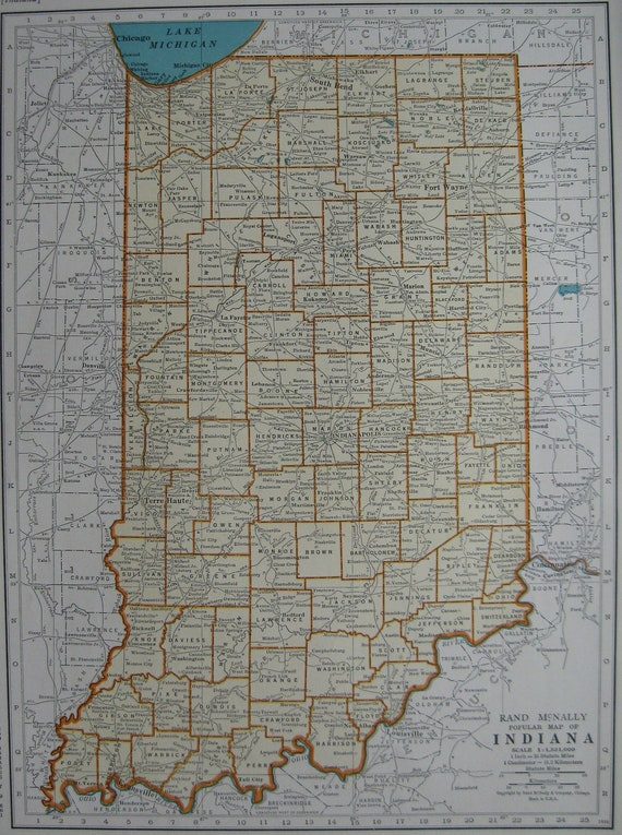 1936 Vintage INDIANA  MAP 1930s Antique State Map Beautiful Color Plaindealing 664