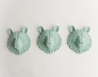 The Benzies - Set of 3 Seafoam Mini Resin Bear Heads- Resin Sea Foam Faux Taxidermy- Chic & Trendy