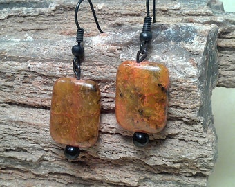 Orange and Black Marbled Natural Stone Pierced Earrings