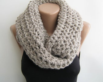 Crochet infinity scarf, oat meal chunky circle scarf,gray,teal,purple choose your color