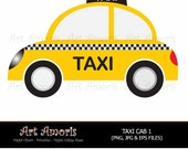 New York Taxi Cab, Cars, Yellow Car, Vehicle, Clipart, Digital Clip art, Yellow Cab, Taxi Cab Scrapbook Public Transportation Vector SC5 TF-