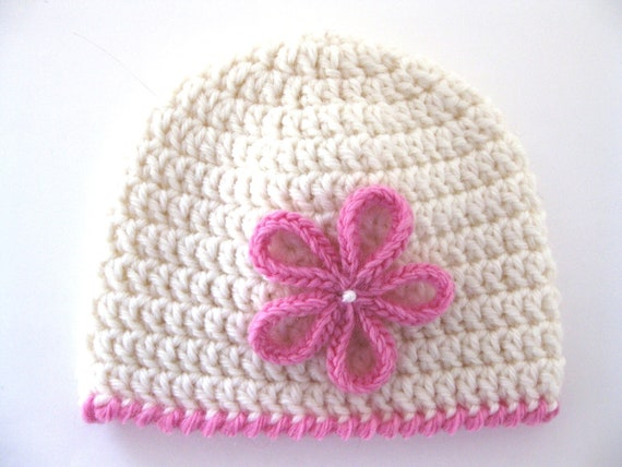 Pattern preemie crochet hat flower pdf girl baby edging white pink beanie embellish applique double crochet treble clear instructions