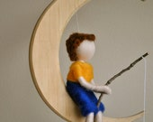 Boys Room  DecorationWaldorf inspired needle felted  mobile/ : The fishing boy  in the moon (crystal fishes)