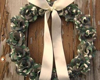 Camouflage Wreath made of Paper Roses.