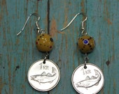 Coin Earrings with Fish, Cod and Rock Giant Guardian Spirit, Genuine Coin Iceland 1 Krone