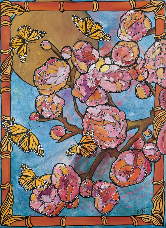 Pink Flowers Art  - Nursery Decor - Pink and Blue Kitchen Art - Watercolor Cherry Blossoms with Monarch Butterflies