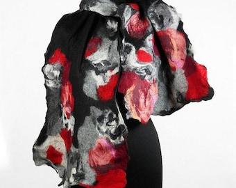 Felted Scarf Nunofelt Wrap wearable art Silk Scarves wild Felt Nuno felt black noir gray grey fairy multicolor floral shawl Fiber Art