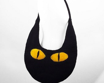Cat Bag Felted Bag Black Cat Felted Handbag Cat Purse wild Felt Nunofelt Nuno felt Silk black fantasy shoulder bag Fiber Art boho