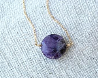 dionysus... gold amethyst necklace / purple round chevron amethyst & 14k gold filled necklace / february birthstone