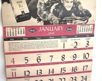 Vintage calendar 1948, full 12 months, never used, Ontario, Canada, paper ephemera