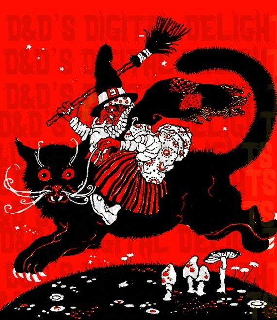 wonderful wacky witch riding black cat halloween digital