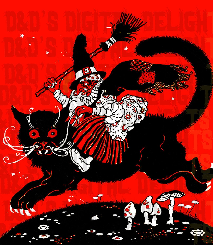 Wonderful Wacky WITCH Riding Black Cat. HALLOWEEN Digital