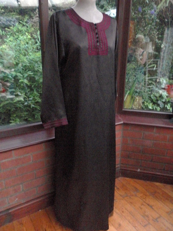SALE     Morrocon Braided black embroidered satin long kaftan 44inch bust