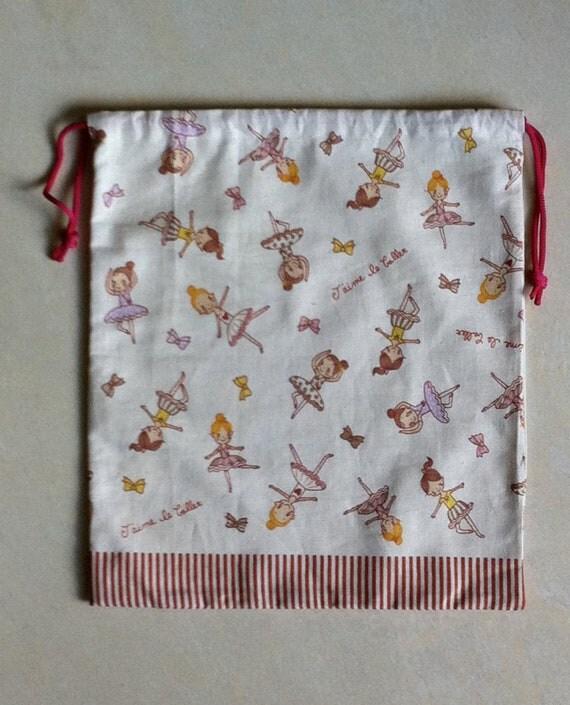 Ballet pattern-drawstring ballet pouch-Personalized Ballet Dance Tote Bag- Ballet Slippers Bag- Ballet Slippers Bag