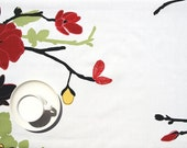 "Tablecloth white yellow red flowers black green tree 37""x56"" or order your size, runner , napkins , curtains , pillows available, great GIFT"