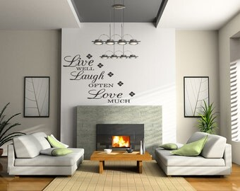 Live Well Laugh Often Love Much Wall Decals Stickers Decals Wall Quote Removable Letters (B122)