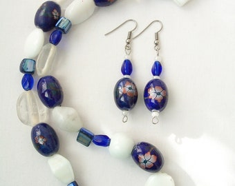 CLEARANCE - Blue flower glass necklace and earring set - white glass necklace - glass jewelry set - flower jewelry - blue earrings - blue