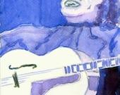 Watercolor Art Print Blues Jazz Guitar Player 5x7