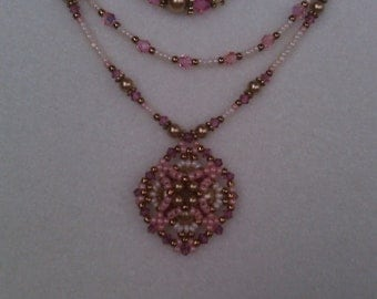 Delightful Pink and Cream Woven  Cluster Necklace