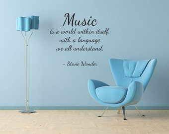 Music is a world within itself Vinyl Wall Decal Quotes Music Wall Sticker Decor (J84)