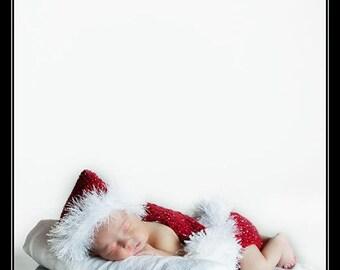 Baby Girl  Hat Too Cute Christmas Newborn Baby Boy or Girl Crochet xmas Elf / Stocking Hat/Diaper Cover