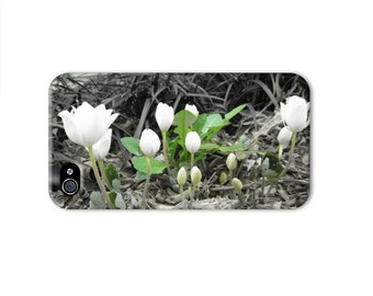 Black and White flower iphone 6 case, unique iphone 4 case, Shabby Chic iphone case, womens iphone 6 case, wildflower iphone se case