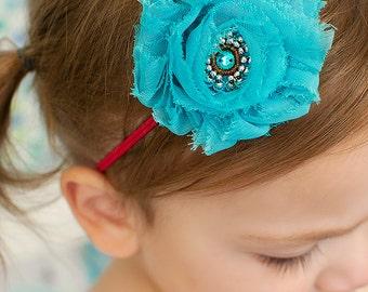 Shabby Flower Headband.Shabby Chic.Shabby Headbands.Baby Girl Headbands.Baby Shabby Headband.Turquoise Shabby Flower.Single Shabby Headband