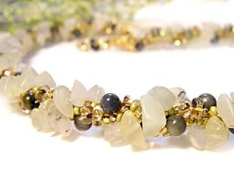 Twisted Crochet Necklace Light Green Spring Moss Gemstone Shell Czech Beads Shabby Chic Romantic Jewelry