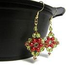 Free Shipping - Dangly Christmas Earrings- Red & Green Crystal Beaded Earrings - Stocking Stuffer - White Elephant - Secret Santa