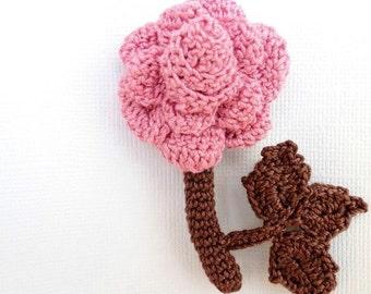 Hand Crochet Brooch Rose, Jewelry, Pink Flower, Pink, Brown,Cotton Yarn, Handmade Jewelry, READY TO SHIP, ,