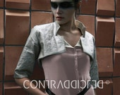 Cropped Jacket Phy Foiled Silvery Linen Silk Lining Half-Sleeves Stand-up Collar