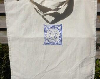 Baby Squid Shopping Bag: hand-printed plain organic cotton