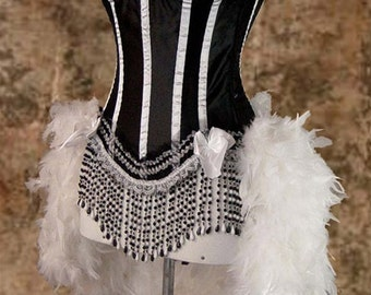 Size L-White & Black Victorian Lace Showgirl Saloon Girl Can Can Moulin Burlesque Costume w/Feather Train