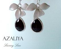 Ballerina Princess Chandeliers. Silver Orchids & Onyx Black Stones. Azaliya Luxury Line. Brides, Bridesmaids Gifts. Earrings. Dangles.