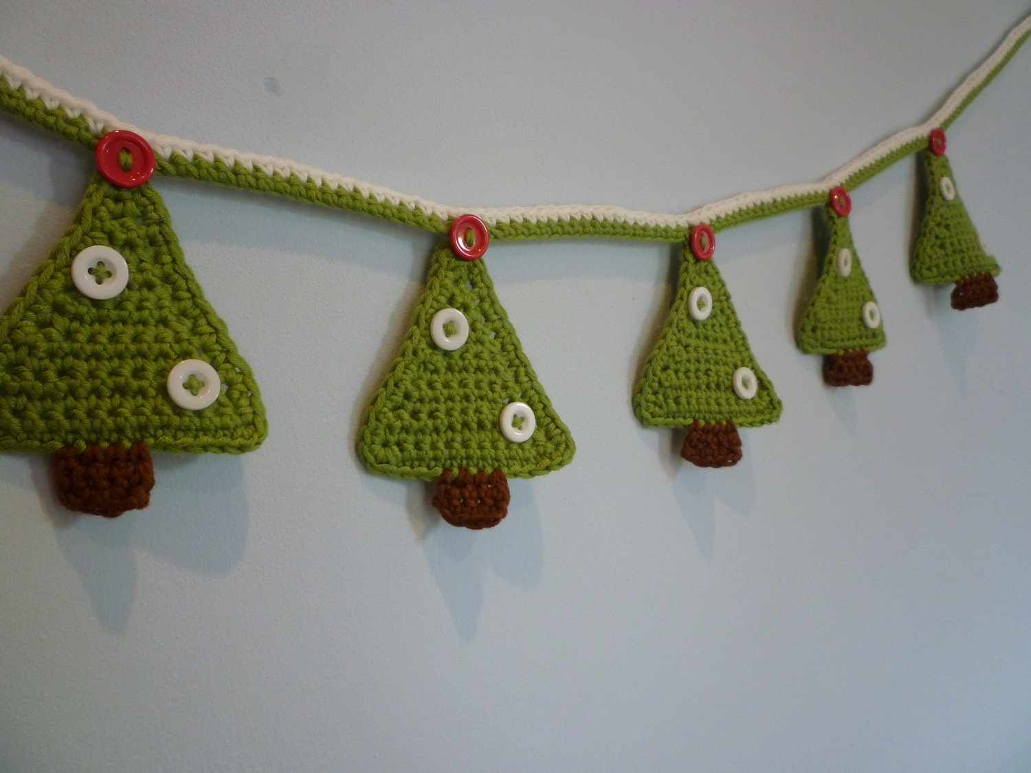 Hand Crochet Christmas tree bunting.