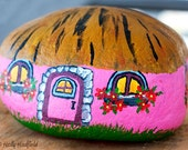 Fairy Cottage Hand Painted on Beach Rock with Acrylic.