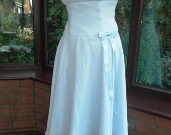 SALE ladies prom special occasion bridesmaid ballgown pleated chiffon over satin size uk-10-usa size-8