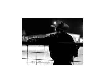 Down Time Western Fine Art Photography Black and white Rodeo nights Cowboy style Country Western Ranch Home Decor or Office Art Texas style